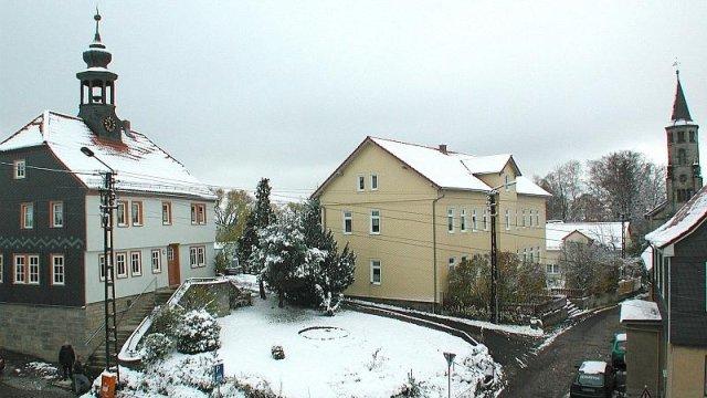 Gemeindebüro Unterpörlitz und Kirchgasse im Winter, Foto Horst Bradsch