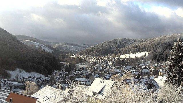 Webcam Manebach - Blick vom oberen Berggrabenweg auf den Ort