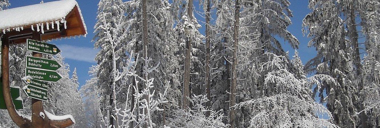 Wegweiser Goethewanderweg im Winter