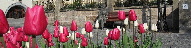Amtshaus mit Goethe im Frühling