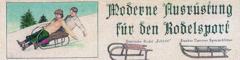 Bob- und Rodelweg (historischer Zeichnung der Ausrüstung)