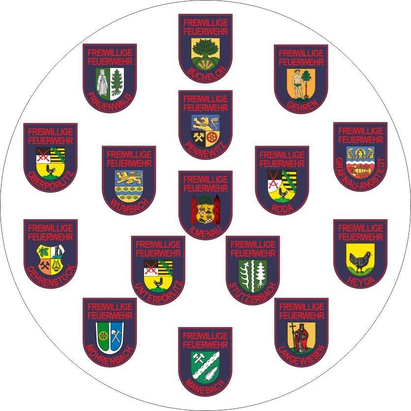 Wappen der Feuerwehren der Stadt Ilmenau