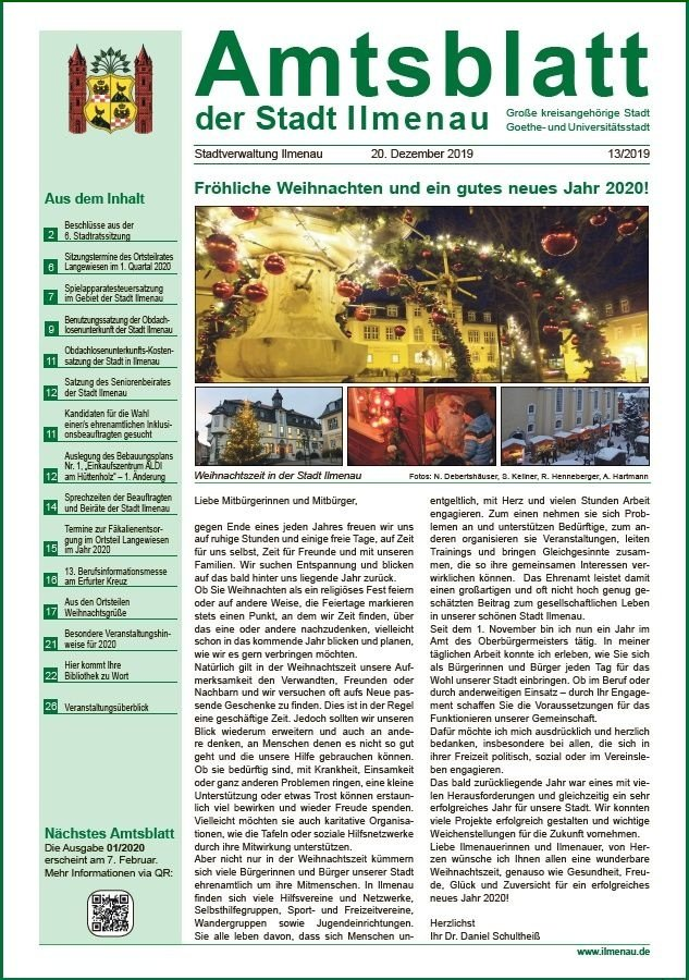 Amtsblatt Ilmenau Dezember 2019 Titel