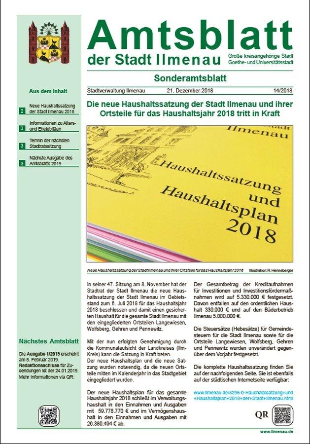 Amtsblatt 14/2018 vom 21.12.2018 (Titelseite)