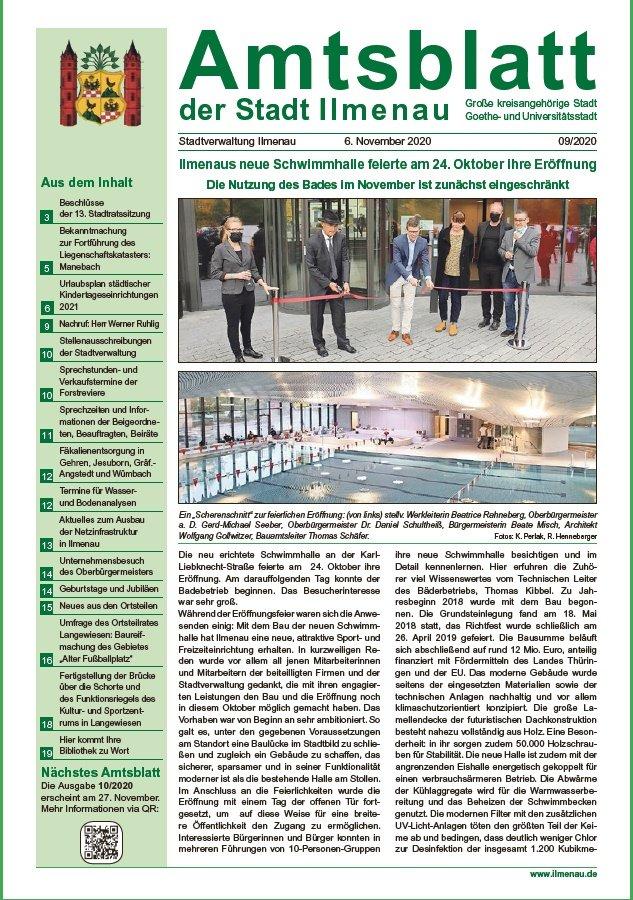 Amtsblatt 09/2020 vom 06.11.2020 (Titelseite)