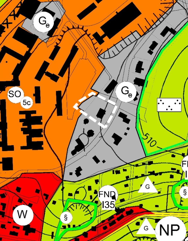 Darstellung des berichtigten Flächennutzungsplan der Stadt Ilmenau, mit zusätzlicher Umgrenzung des Geltungsbereich des Bebauungsplanes, der die Berichtigung auslöst