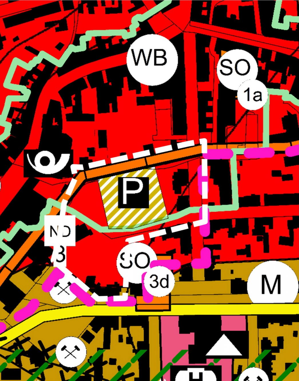 Darstellung des berichtigten Flächennutzungsplans der Stadt Ilmenau; mit zusätzlicher Umgrenzung des Geltungsbereichs des Bebauungsplans, der die Berichtigung auslöst.