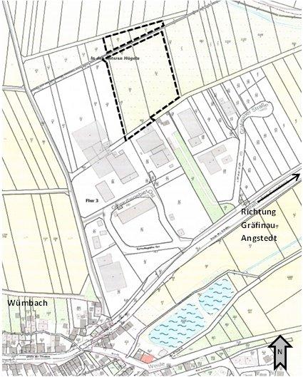 Lageplan mit Darstellung Geltungsbereich vorhabenbezogener Bebauungsplan UV-Technik Wümbach