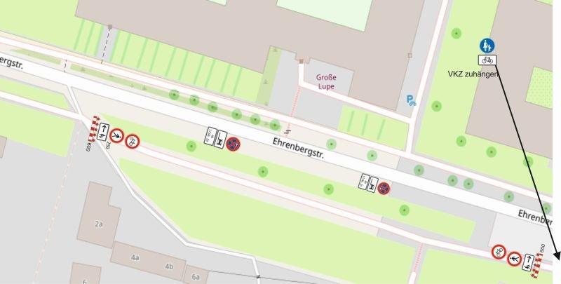 Fuß- und Radwegsperrung Ehrenbergstraße