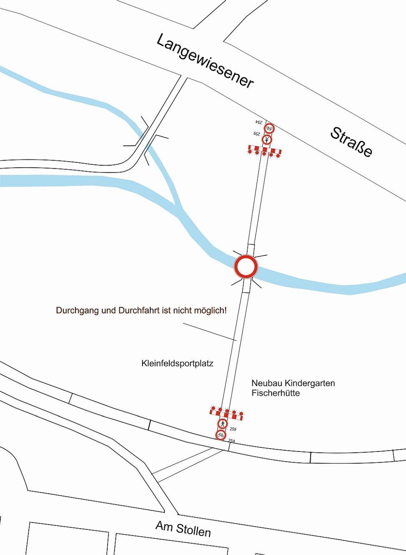 Vollsperrung Fuß- und Radweg zwischen Am Stollen und Langewiesener Straße