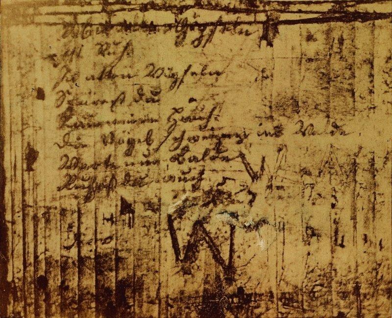 Fotografie des Gedichtes 'Wandrers Nachtlied', August Linde, 1869, Reproduktion: Marcus Pfau, Ilmenau