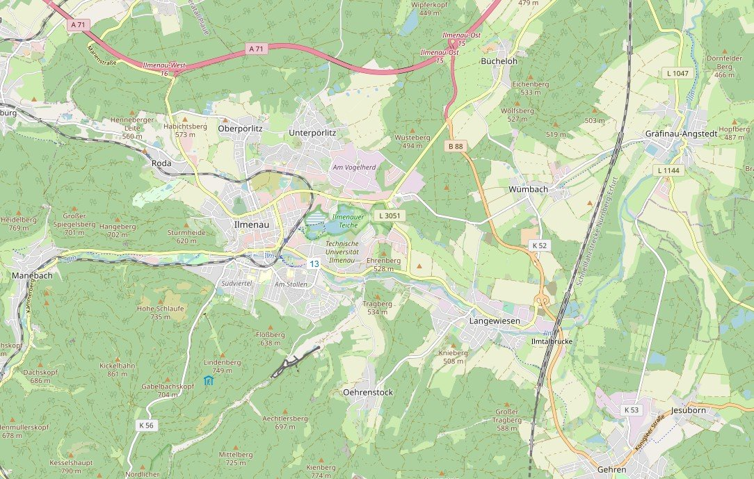 Stadtplanausschnitt aus https://stadtplan-ilmenau.de (OpenStreetMap)