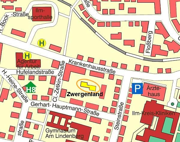Stadtplanausschnitt Zwergenland