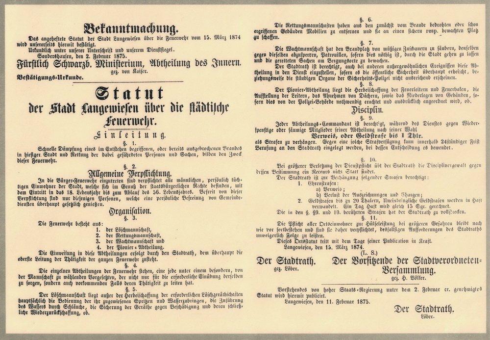 Statut der Feuerwehr Langewiesen von 1865