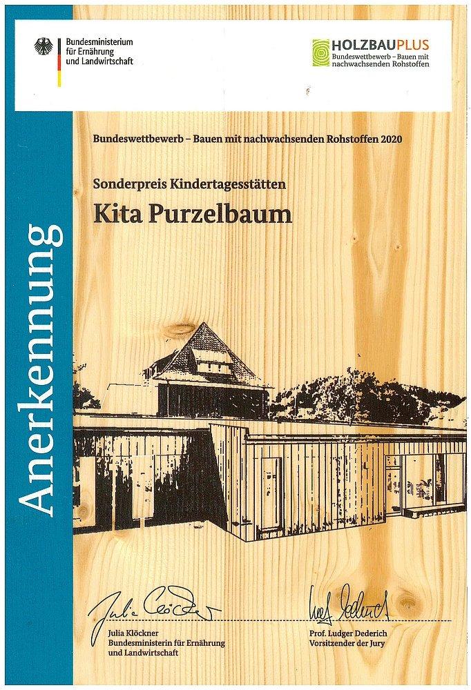 Urkunde Sonderpreis Bauen mit nachwachsenden Rohstoffen 2020 - Kita Purzelbaum